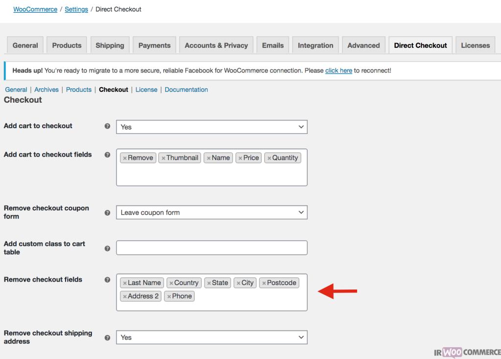 حذف کد پستی از صفحه پرداخت در ووکامرس
